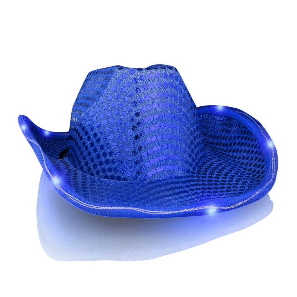 1ee0c8143b330 Light Up LED Flashing Cowboy Hat with Blue Sequins