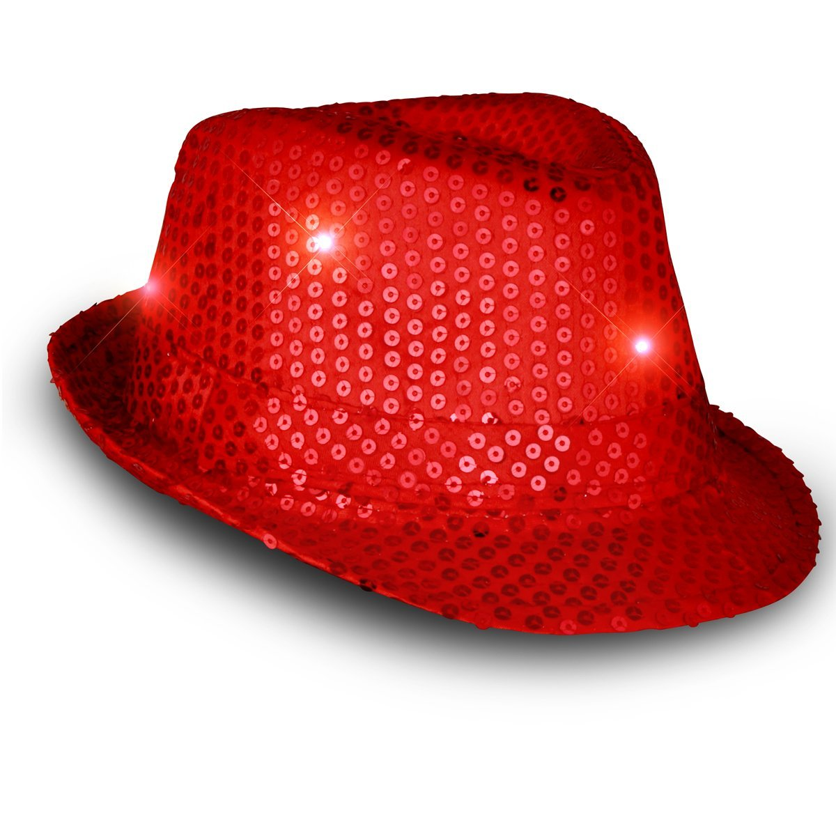 FUN Light Up Cowboy Hat RED LED Cowboy Hat with RED Sequins
